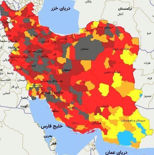 نقشه هولناک کرونایی ایران، شرایط فوق خطرناک شد!