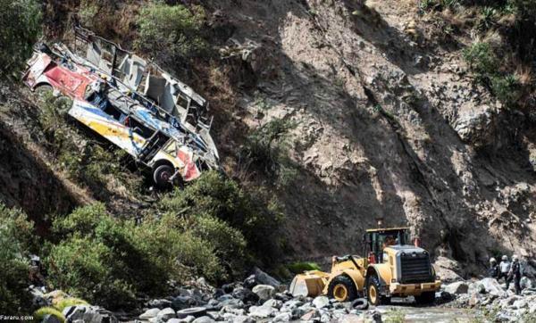 سقوط اتوبوس مسافربری به دره در پرو